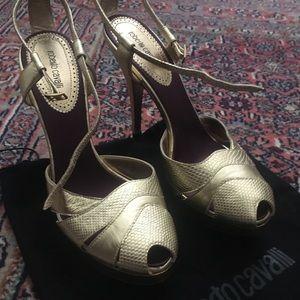Roberto Cavalli gold platform heels
